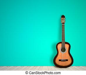 estilo, sala, nostalgia, guitarra, experiência., em branco, vazio