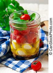 estilo, salada caprese, jarro., pedreiro, rústico