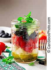 estilo, salada, jarro., pedreiro, rústico, grego