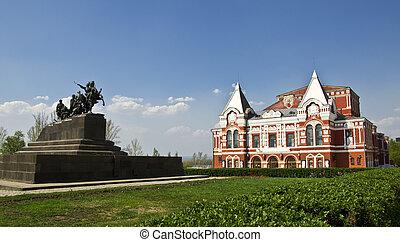 estilo, samara., ruso, teatro, drama, monumento, edificio, construido, tradicional, cavalry., paisaje., rusia, urbano