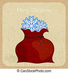 estilo, santa, saco, cartão postal, vindima, claus, experiência., retro, feliz natal