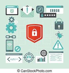 estilo, seguridad, información, internet, vector, plano, concepto