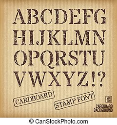 estilo, selo velho, alfabeto, experiência., papelão