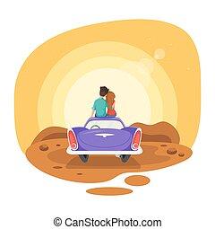 estilo, sentando, car, par, ilustração, olhar, vetorial, vindima, amando, caricatura, sunset.