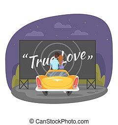 estilo, sentando, car, par, ilustração, vetorial, vindima, caricatura, amando