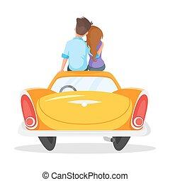 estilo, sentando, vindima, par, ilustração, vetorial, carro., caricatura, amando
