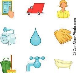 estilo, serviço, jogo, rapidamente, limpeza, caricatura, ícone