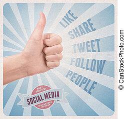 estilo, serviço, mídia, social, retro, cartaz
