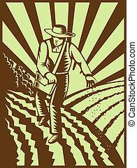 estilo, siembra, woodcut, semillas, hecho, retro, granjero,...