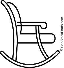 estilo, silla, contorno, mecedor, icono