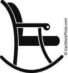 estilo, silla, simple, mecedor, icono