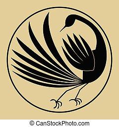 estilo, silueta, mítico, pássaro, stylized, papel, pretas, experiência bege, antigas, yellowed, círculo desenho