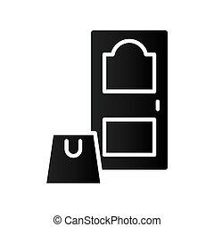 estilo, silueta, puerta, icono de la casa, bolsa, compras