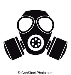 estilo, simple, careta antigás, químico, icono