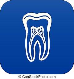 estilo, simple, diente, negro, icono, estructura
