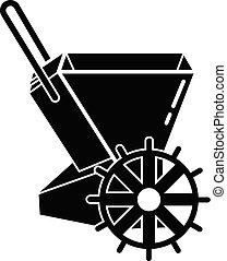estilo, simple, mano, sembradora, mecánico, icono