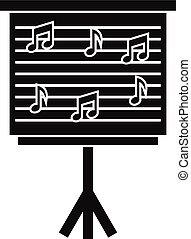 estilo, simple, notas, whiteboard, música, icono