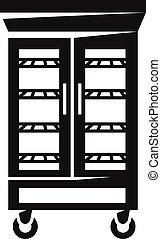 estilo, simple, puertas de vidrio, icono, refrigerador