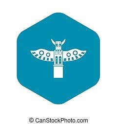 estilo, simple, tótem, tradicional, poste, icono religioso