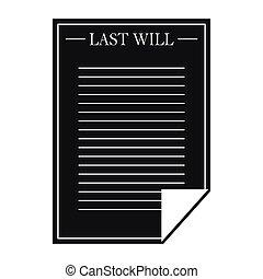 estilo, simple, testamento, negro, carta, icono