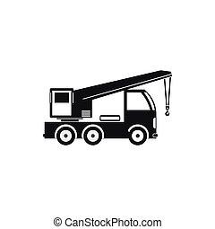 estilo, simples, caminhão, ícone, guindaste, montado