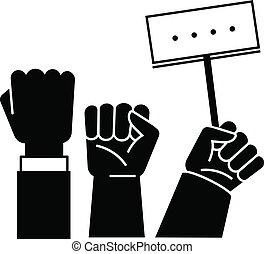 estilo, simples, cima, punho, ícone, demonstração