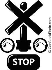 estilo, simples, luz, parada, tráfego, estrada ferro, ícone