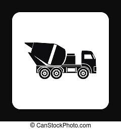 estilo, simples, misturador, concreto, caminhão, ícone