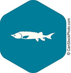 estilo, simples, peixe, esturjão, ícone, fresco