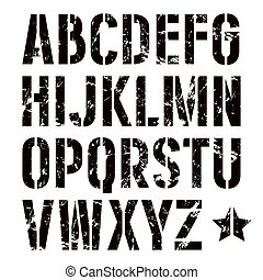 estilo, sin, serif, fuente, stencil-plate, militar