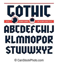 estilo, sin, serif, gótico, geométrico, fuente