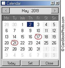 estilo, sistema, antigas, operando, aplicação, calendário, ...