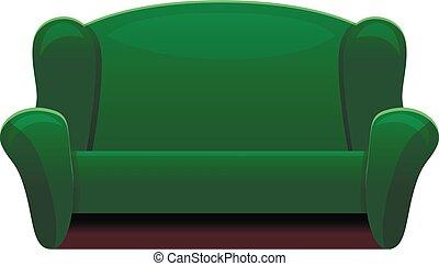 estilo, sofá, verde, retro, ícone, caricatura
