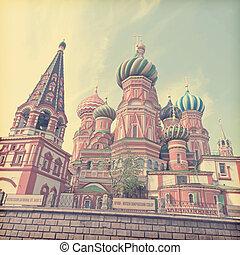 estilo, square., vendimia, s., moscú, cathedral., retro, albahaca, rusia, rojo