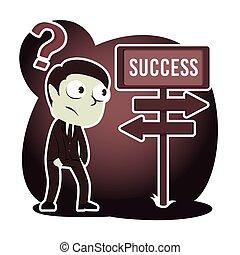 estilo, sucesso, confundir, direção, retro, homem negócios, estrada