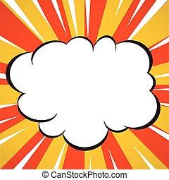 estilo, superhero, explosão, linhas, estouro, livro, fundo amarelo, radial, arte, cômico, nuvem branca