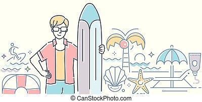 estilo, surfando, coloridos, modernos, -, ilustração, desenho, linha