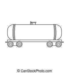 estilo, tanque, esboço, símbolo, web., ilustração, único, vetorial, car.oil, estrada ferro, ícone, estoque