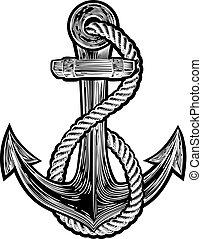 estilo, tatuaje, ilustración, vendimia, ancla