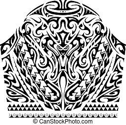 estilo, tatuaje, polynesian, manga