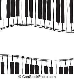 estilo, teclas, -, dois, esboço, piano