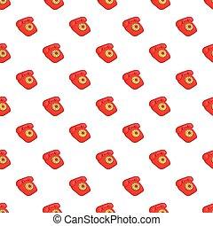 estilo, telefone, Padrão,  retro, caricatura, vermelho