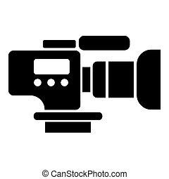 estilo, televisión, simple, cámara, negro, icono