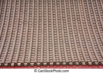 estilo, telhado, tiles., cima, algum, tiro, fim, chinês