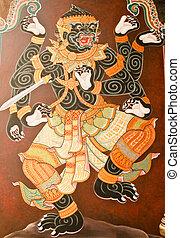 estilo, templo, tradicional, tailandés, arte, pared, obra ...