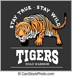 estilo, -, tiger, ataque, desporto, mascote