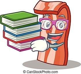 estilo, toucinho, livro, estudante, caricatura, mascote