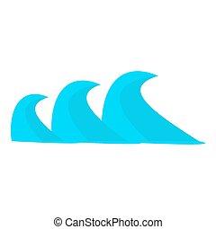estilo, três, mar, ondas, ícone, caricatura