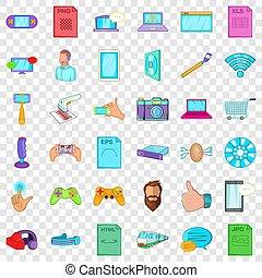 estilo, trabajando, iconos, conjunto, app, caricatura