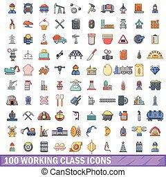estilo, trabajando, iconos, conjunto, caricatura, 100, clase